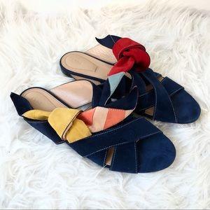 Chloe • Nellie Suede Slide Sandals Nautical Sz 40